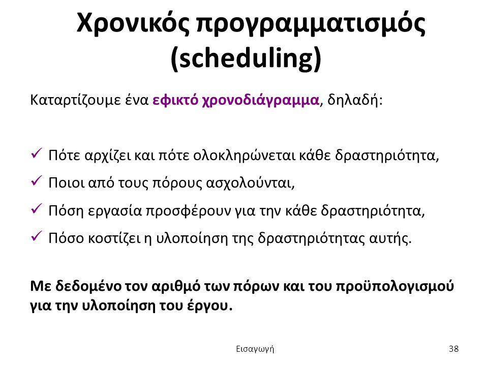 Χρονικός προγραμματισμός (scheduling) Καταρτίζουμε ένα εφικτό χρονοδιάγραμμα, δηλαδή: Πότε αρχίζει και πότε ολοκληρώνεται κάθε δραστηριότητα, Ποιοι από τους πόρους ασχολούνται, Πόση εργασία προσφέρουν για την κάθε δραστηριότητα, Πόσο κοστίζει η υλοποίηση της δραστηριότητας αυτής.