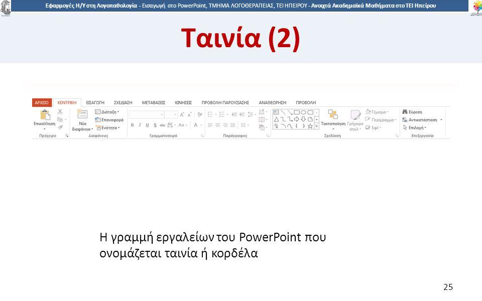 2525 Εφαρμογές Η/Υ στη Λογοπαθολογία - Eισαγωγή στο PowerPoint, ΤΜΗΜΑ ΛΟΓΟΘΕΡΑΠΕΙΑΣ, ΤΕΙ ΗΠΕΙΡΟΥ - Ανοιχτά Ακαδημαϊκά Μαθήματα στο ΤΕΙ Ηπείρου Η γραμμή εργαλείων του PowerPoint που ονομάζεται ταινία ή κορδέλα 25 Ταινία (2)