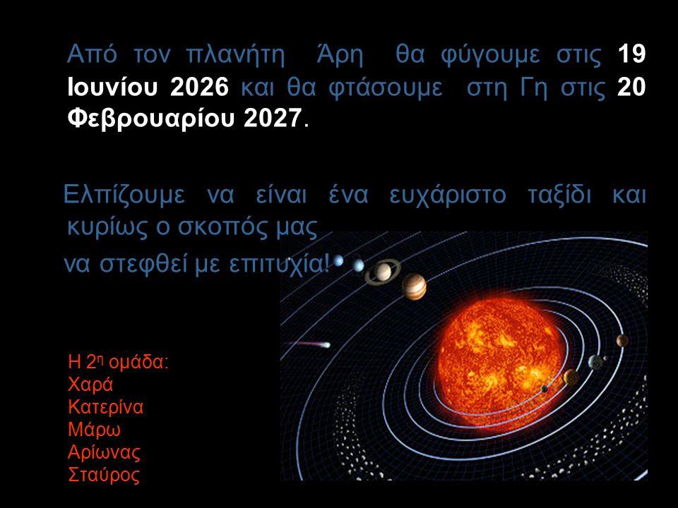 Το ταξίδι μας θα διαρκέσει συνολικά 34 μήνες. Στον Άρη θα μείνουμε περίπου 18 μήνες.