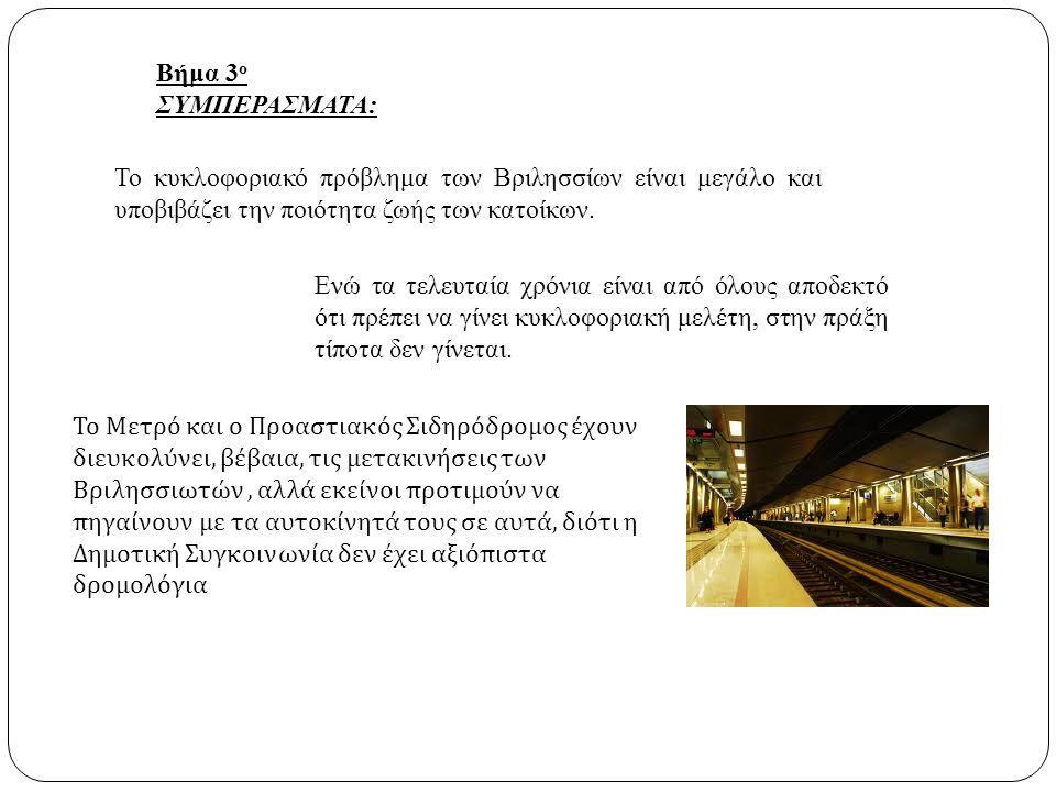 Βήμα 3 ο ΣΥΜΠΕΡΑΣΜΑΤΑ: Το κυκλοφοριακό πρόβλημα των Βριλησσίων είναι μεγάλο και υποβιβάζει την ποιότητα ζωής των κατοίκων. Ενώ τα τελευταία χρόνια είν