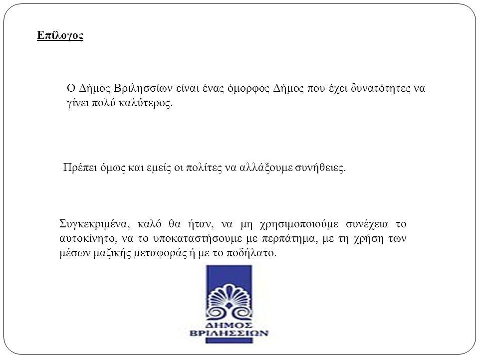 Επίλογος Ο Δήμος Βριλησσίων είναι ένας όμορφος Δήμος που έχει δυνατότητες να γίνει πολύ καλύτερος. Πρέπει όμως και εμείς οι πολίτες να αλλάξουμε συνήθ