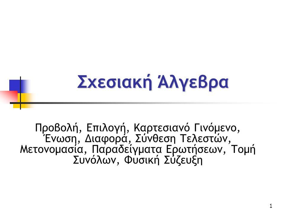 22 Τελεστής Φυσικής Σύζευξης ΒΗΜΑ 1: Υπολογίζουμε το καρτεσιανό γινόμενο των δυο πινάκων r x s ΒΗΜΑ 2: Επάνω στο καρτεσιανό γινόμενο κάνουμε επιλογή στα κοινά γνωρίσματα σ r.Β=s.B r.∆=s.∆ (r x s) ΒΗΜΑ3: Προβολή (θέλουμε τα κοινά γνωρίσματα να υπάρχουν μόνο μια φορά R ⋃ S= ένωση των γνωρισμάτων) Π R ⋃ S (σ r.Β=s.B r.∆=s.∆ (r x s))