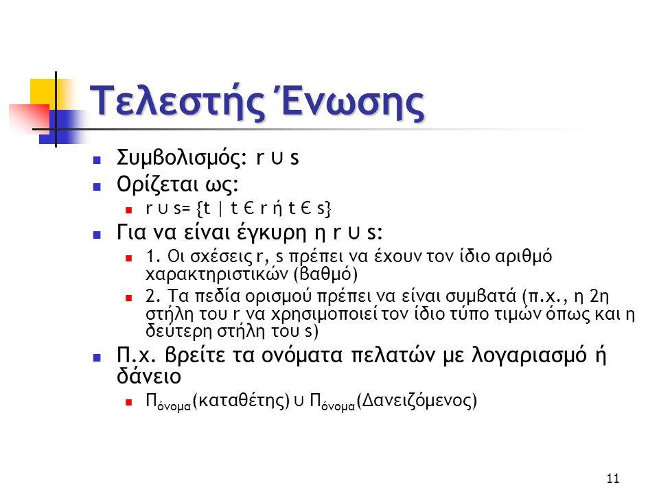 11 Τελεστής Ένωσης Συμβολισμός: r ⋃ s Ορίζεται ως: r ⋃ s= {t | t Є r ή t Є s} Για να είναι έγκυρη η r ⋃ s: 1.