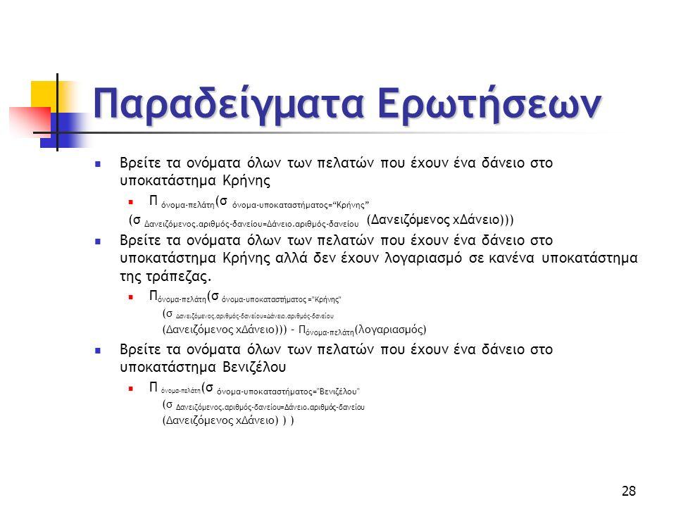 28 Παραδείγματα Ερωτήσεων Βρείτε τα ονόματα όλων των πελατών που έχουν ένα δάνειο στο υποκατάστημα Κρήνης Π όνοµα-πελάτη (σ όνοµα-υποκαταστήματος= Κρήνης (σ ∆ανειζόµενος.αριθµός-δανείου=∆άνειο.αριθµός-δανείου (∆ανειζόµενος x∆άνειο))) Βρείτε τα ονόματα όλων των πελατών που έχουν ένα δάνειο στο υποκατάστημα Κρήνης αλλά δεν έχουν λογαριασμό σε κανένα υποκατάστημα της τράπεζας.