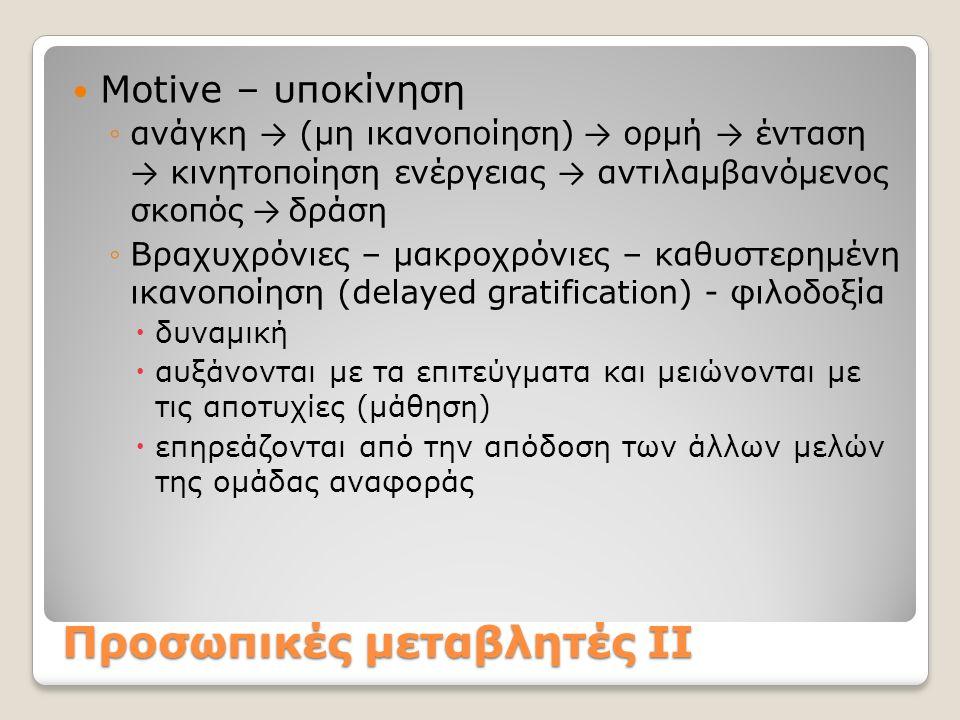 Προσωπικές μεταβλητές ΙΙ Motive – υποκίνηση ◦ανάγκη → (μη ικανοποίηση) → ορμή → ένταση → κινητοποίηση ενέργειας → αντιλαμβανόμενος σκοπός → δράση ◦Βρα