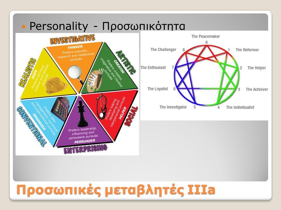 Προσωπικές μεταβλητές ΙΙΙa Personality - Προσωπικότητα