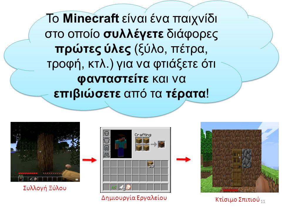 Το Minecraft είναι ένα παιχνίδι στο οποίο συλλέγετε διάφορες πρώτες ύλες (ξύλο, πέτρα, τροφή, κτλ.) για να φτιάξετε ότι φανταστείτε και να επιβιώσετε