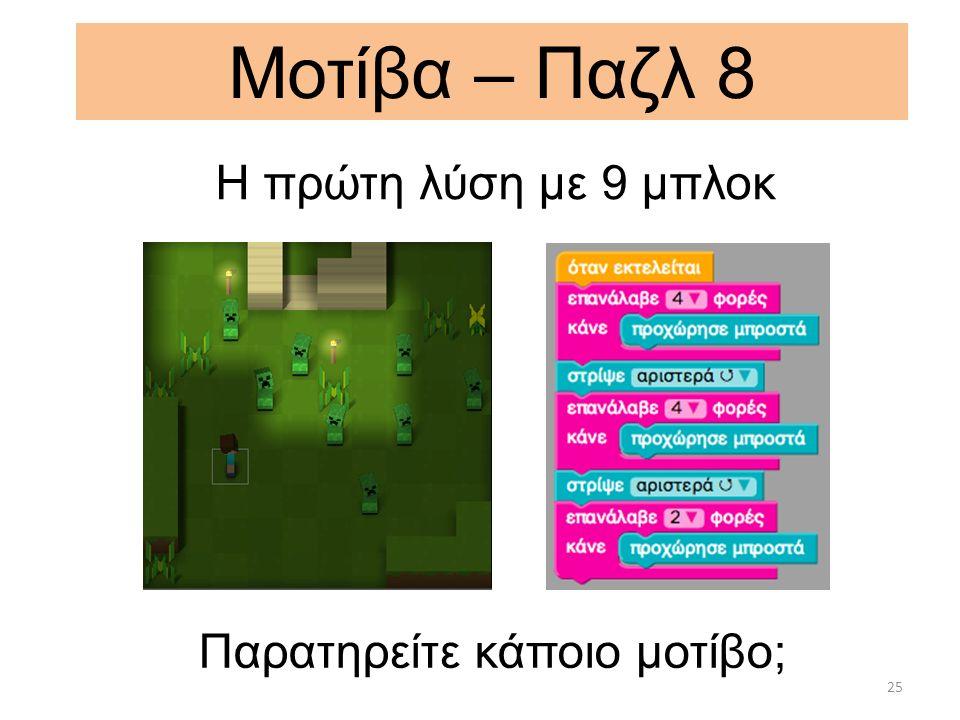 Μοτίβα – Παζλ 8 Παρατηρείτε κάποιο μοτίβο; 25 H πρώτη λύση με 9 μπλοκ