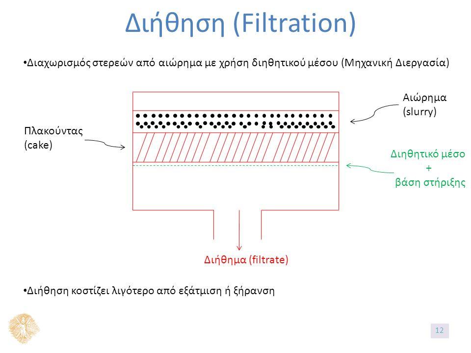 Διήθηση (Filtration) Διαχωρισμός στερεών από αιώρημα με χρήση διηθητικού μέσου (Μηχανική Διεργασία) Αιώρημα (slurry) Πλακούντας (cake) Διηθητικό μέσο + βάση στήριξης Διήθημα (filtrate) Διήθηση κοστίζει λιγότερο από εξάτμιση ή ξήρανση 12