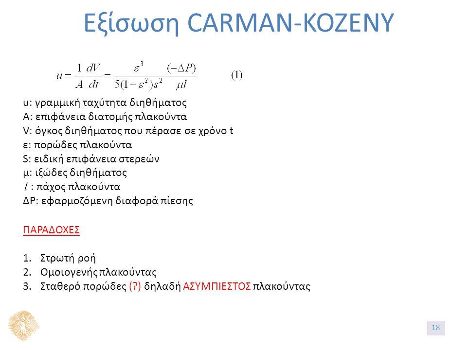 Εξίσωση CARMAN-KOZENY u: γραμμική ταχύτητα διηθήματος A: επιφάνεια διατομής πλακούντα V: όγκος διηθήματος που πέρασε σε χρόνο t ε: πορώδες πλακούντα S: ειδική επιφάνεια στερεών μ: ιξώδες διηθήματος : πάχος πλακούντα ΔP: εφαρμοζόμενη διαφορά πίεσης ΠΑΡΑΔΟΧΕΣ 1.Στρωτή ροή 2.Ομοιογενής πλακούντας 3.Σταθερό πορώδες ( ) δηλαδή ΑΣΥΜΠΙΕΣΤΟΣ πλακούντας 18