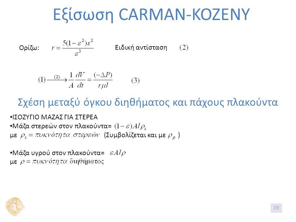 Εξίσωση CARMAN-KOZENY Ορίζω: Ειδική αντίσταση Σχέση μεταξύ όγκου διηθήματος και πάχους πλακούντα ΙΣΟΖΥΓΙΟ ΜΑΖΑΣ ΓΙΑ ΣΤΕΡΕΑ Μάζα στερεών στον πλακούντα= με (Συμβολίζεται και με ) Μάζα υγρού στον πλακούντα= με 19