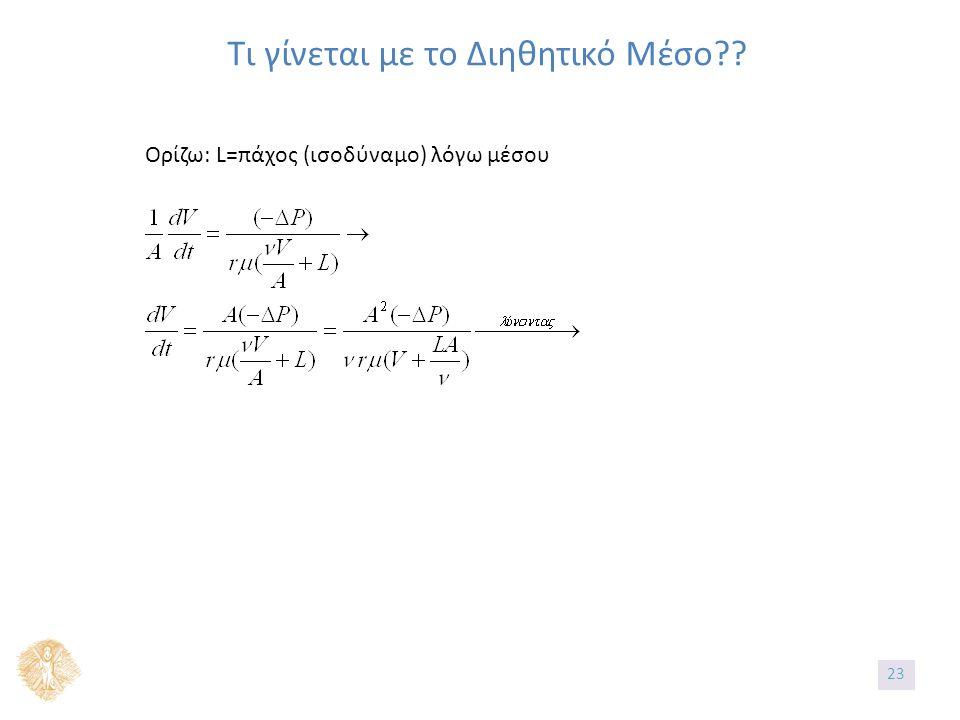 Τι γίνεται με το Διηθητικό Μέσο Ορίζω: L=πάχος (ισοδύναμο) λόγω μέσου 2323