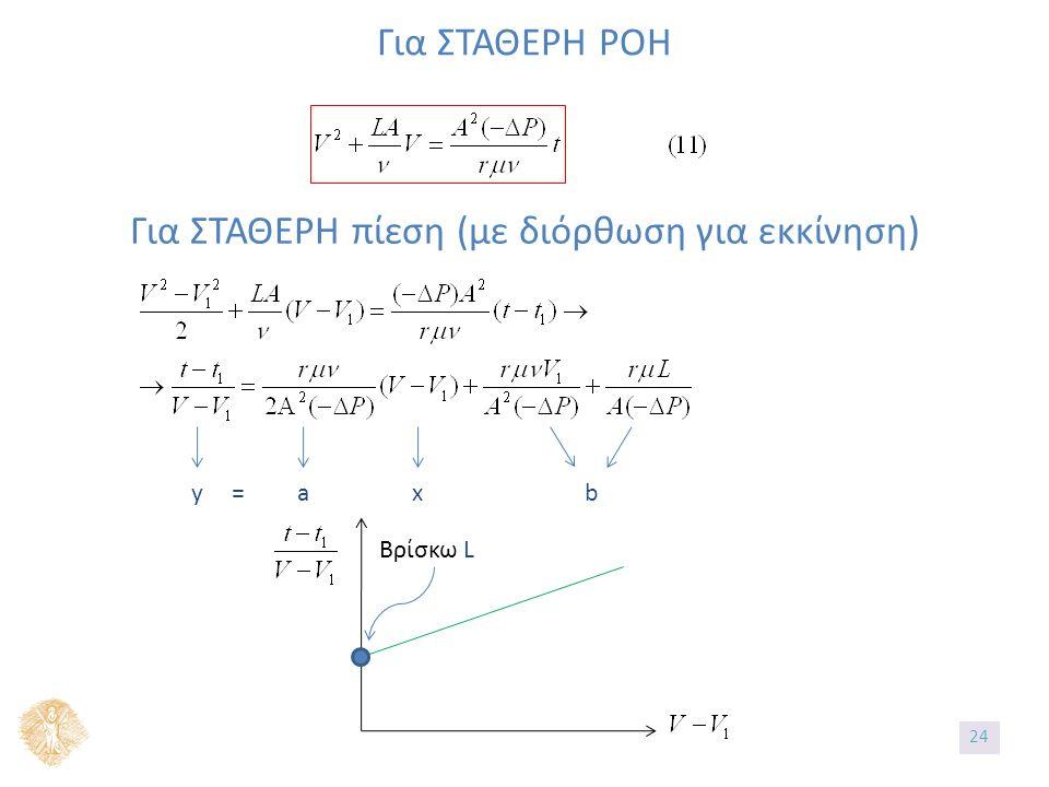 Για ΣΤΑΘΕΡΗ ΡΟΗ Για ΣΤΑΘΕΡΗ πίεση (με διόρθωση για εκκίνηση) y=axb Βρίσκω L 24
