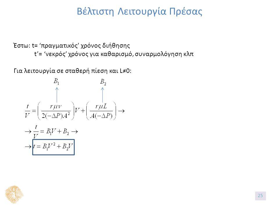 Βέλτιστη Λειτουργία Πρέσας Έστω: t= 'πραγματικός' χρόνος διήθησης t'= 'νεκρός' χρόνος για καθαρισμό, συναρμολόγηση κλπ Για λειτουργία σε σταθερή πίεση και L≠0: 25