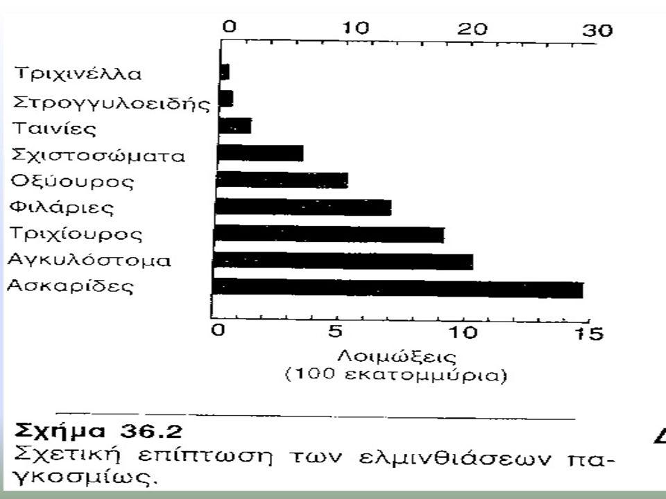 Νικλοζαμίδη Φάρμακο εκλογής για τις περισσότερες λοιμώξεις από ταινίες Δρα αναστέλλοντας την αναερόβια φωσφορυλίωση του ADP στα μιτοχόνδρια του παρασίτου Είναι θανατηφόρο για τη κεφαλή, τον αυχένα και τις προγλωτίδες της ταινίας αλλά όχι για τα ωάρια Πριν από τη χορήγηση της από το στόμα χορηγείται υπακτικό για τον καθαρισμό του παχέος εντέρου από όλα τα νεκρά τμήματα του παρασίτου Η κατανάλωση αλκόολ πρέπει να αποφεύγεται 1 μέρα πρίν την χορήγηση Αλβανδαζόλη Αναστέλλει τη σύνθεση μικροσωλήνων και την πρόσληψη γλυκόζης στους νηματώδεις Η κύρια θεραπευτική εφαρμογή είναι στη θεραπεία των κεστώδων και της υδατιδικής νόσου Απορροφάται ασταθώς, μεταβολίζεται έντονα και απεκκρίνεται στα ούρα Ήπιες ανεπιθύμητες ενέργειες (σε βραχεία θεραπεία): κεφαλαλγία και ναυτία