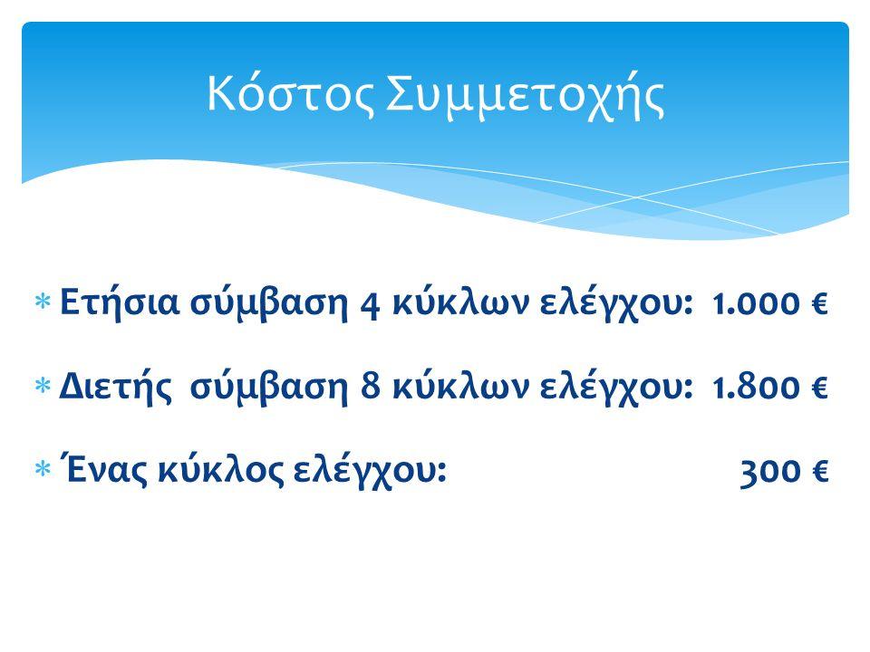 Κόστος Συμμετοχής  Ετήσια σύμβαση 4 κύκλων ελέγχου: 1.000 €  Διετής σύμβαση 8 κύκλων ελέγχου: 1.800 €  Ένας κύκλος ελέγχου: 300 €