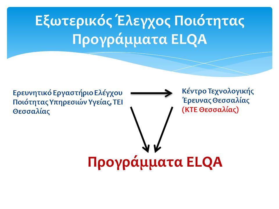  Τα Προγράμματα ELQA είναι τα μοναδικά που Διενεργούνται στη χώρα μας από φορέα τριτοβάθμιας εκπαίδευσης (ΤΕΙ Θεσσαλίας, ΚΤΕ Θεσσαλίας).