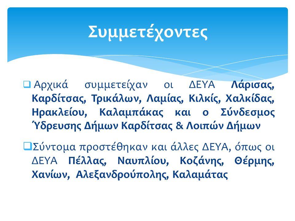  Η συμμετοχή όλων των ΔΕΥΑ της χώρας που διαθέτουν Εργαστήρια στα Διεργαστηριακά Προγράμματα ELQA.