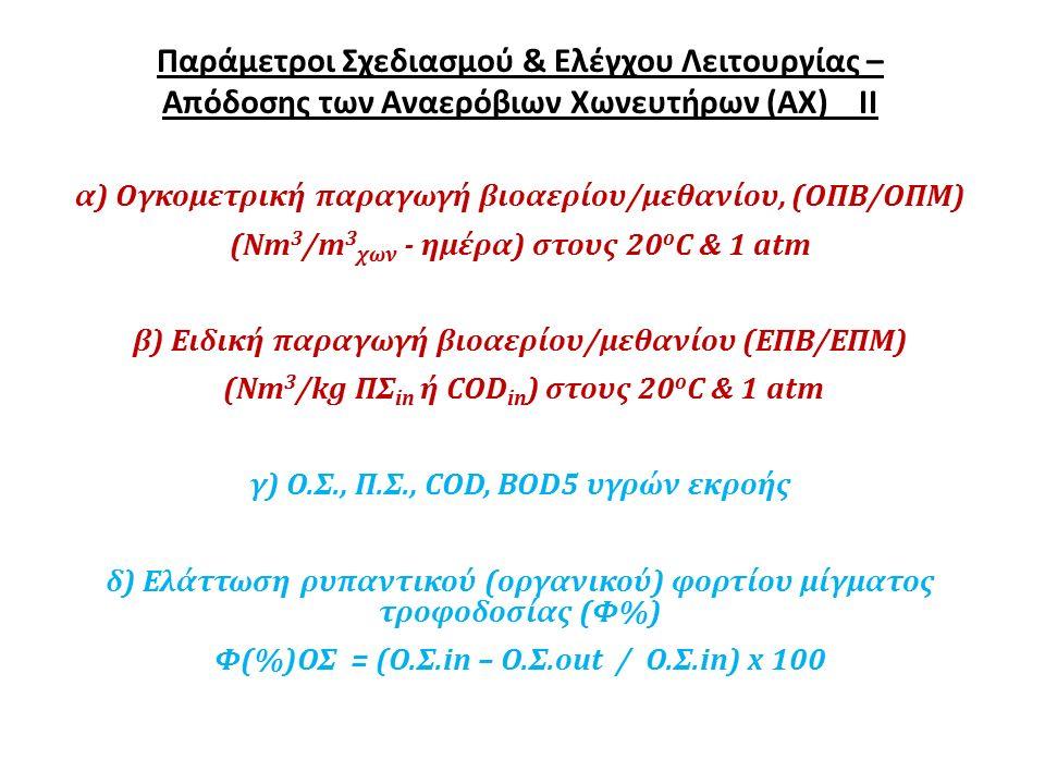 Παράμετροι Σχεδιασμού & Ελέγχου Λειτουργίας – Απόδοσης των Αναερόβιων Χωνευτήρων (ΑΧ) ΙΙ α) Ογκομετρική παραγωγή βιοαερίου/μεθανίου, (ΟΠΒ/ΟΠΜ) (Νm 3 /m 3 χων - ημέρα) στους 20 ο C & 1 atm β) Ειδική παραγωγή βιοαερίου/μεθανίου (ΕΠΒ/ΕΠΜ) (Νm 3 /kg ΠΣ in ή COD in ) στους 20 ο C & 1 atm γ) Ο.Σ., Π.Σ., COD, ΒΟD5 υγρών εκροής δ) Ελάττωση ρυπαντικού (οργανικού) φορτίου μίγματος τροφοδοσίας (Φ%) Φ(%)ΟΣ = (Ο.Σ.in – Ο.Σ.οut / Ο.Σ.in) x 100