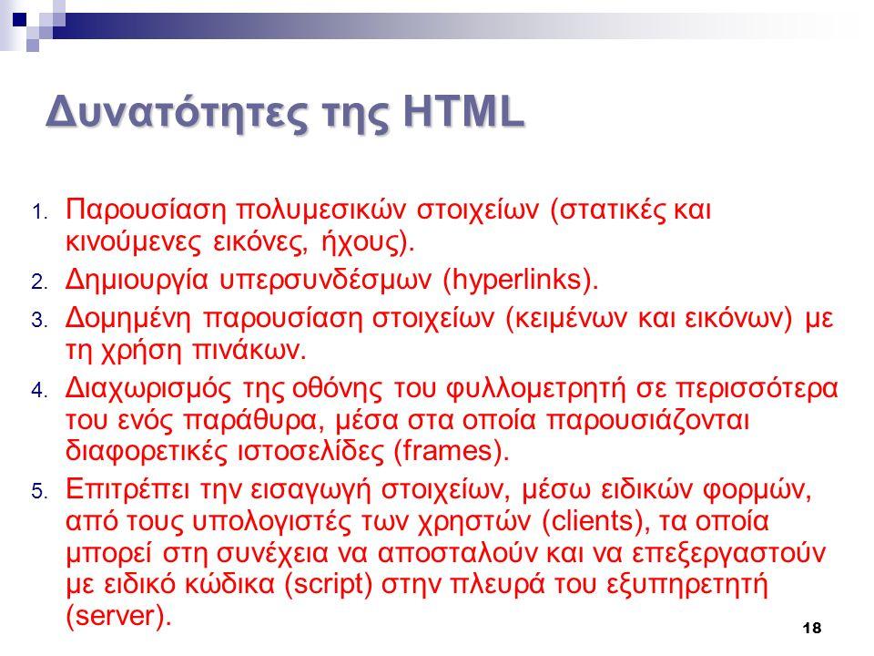 18 Δυνατότητες της HTML 1.