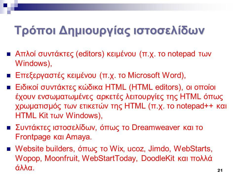21 Τρόποι Δημιουργίας ιστοσελίδων Απλοί συντάκτες (editors) κειμένου (π.χ.