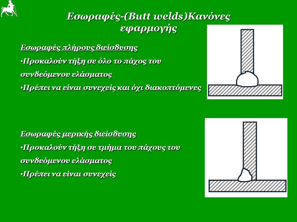 Εσωραφές-(Butt welds)Κανόνες εφαρμογής Εσωραφές πλήρους διείσδυσης Προκαλούν τήξη σε όλο το πάχος του Προκαλούν τήξη σε όλο το πάχος του συνδεόμενου ελάσματος Πρέπει να είναι συνεχείς και όχι διακοπτόμενες Πρέπει να είναι συνεχείς και όχι διακοπτόμενες Εσωραφές μερικής διείσδυσης Προκαλούν τήξη σε τμήμα του πάχους του Προκαλούν τήξη σε τμήμα του πάχους του συνδεόμενου ελάσματος Πρέπει να είναι συνεχείς Πρέπει να είναι συνεχείς
