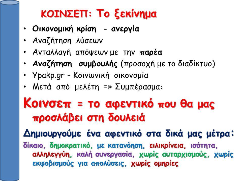 Οικονομική κρίση - ανεργία Αναζήτηση λύσεων Ανταλλαγή απόψεων με την παρέα Αναζήτηση συμβουλής (προσοχή με το διαδίκτυο) Ypakp.gr - Κοινωνική οικονομία Μετά από μελέτη =» Συμπέρασμα : Κοινσεπ = το αφεντικό που θα μας προσλάβει στη δουλειά Δημιουργούμε ένα αφεντικό στα δικά μας μέτρα : δίκαιο, δημοκρατικό, με κατανόηση, ειλικρίνεια, ισότητα, αλληλεγγύη, καλή συνεργασία, χωρίς αυταρχισμούς, χωρίς εκφοβισμούς για απολύσεις, χωρίς ομηρίες ΚΟΙΝΣΕΠ: Το ξεκίνημα ΚΟΙΝΣΕΠ: Το ξεκίνημα