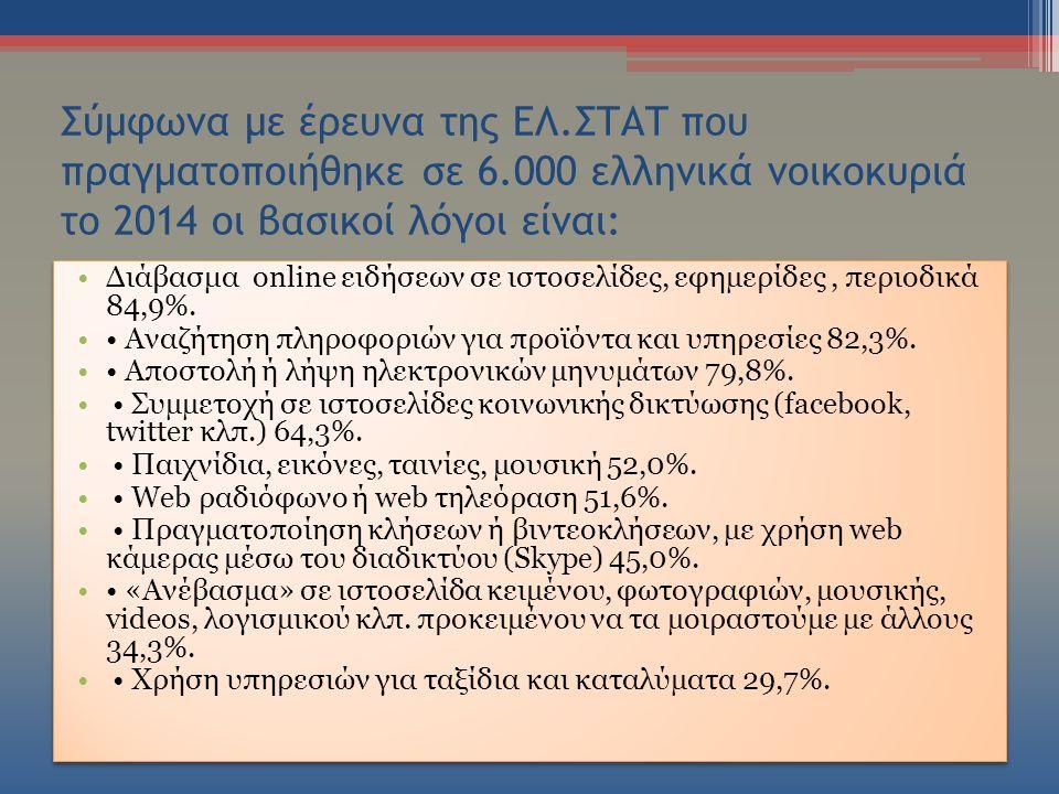 Σύμφωνα με έρευνα της ΕΛ.ΣΤΑΤ που πραγματοποιήθηκε σε 6.000 ελληνικά νοικοκυριά το 2014 οι βασικοί λόγοι είναι: Διάβασμα online ειδήσεων σε ιστοσελίδες, εφηµερίδες, περιοδικά 84,9%.