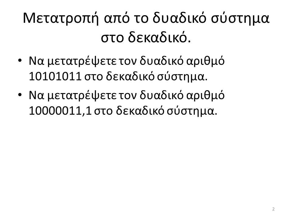 Μετατροπή από το δυαδικό σύστημα στο δεκαδικό.