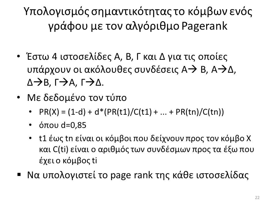 Υπολογισμός σημαντικότητας το κόμβων ενός γράφου με τον αλγόριθμο Pagerank Έστω 4 ιστοσελίδες Α, Β, Γ και Δ για τις οποίες υπάρχουν οι ακόλουθες συνδέσεις Α  Β, Α  Δ, Δ  Β, Γ  Α, Γ  Δ.
