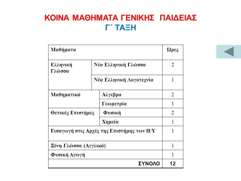ΚΟΙΝΑ ΜΑΘΗΜΑΤΑ ΓΕΝΙΚΗΣ ΠΑΙΔΕΙΑΣ Γ΄ ΤΑΞΗ ΜαθήματαΏρες Ελληνική Γλώσσα Νέα Ελληνική Γλώσσα2 Νέα Ελληνική Λογοτεχνία1 ΜαθηματικάΆλγεβρα2 Γεωμετρία1 Θετικ
