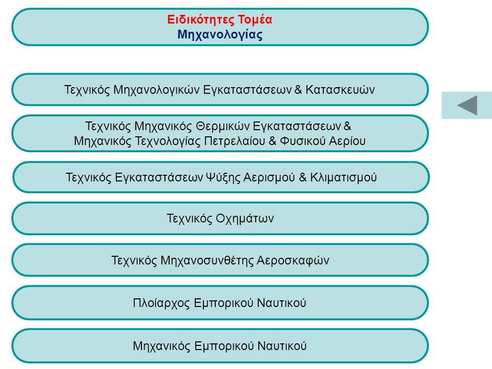Τεχνικός Εγκαταστάσεων Ψύξης Αερισμού & Κλιματισμού Πλοίαρχος Εμπορικού Ναυτικού Τεχνικός Μηχανολογικών Εγκαταστάσεων & Κατασκευών Τεχνικός Μηχανικός Θερμικών Εγκαταστάσεων & Μηχανικός Τεχνολογίας Πετρελαίου & Φυσικού Αερίου Ειδικότητες Τομέα Μηχανολογίας Τεχνικός Οχημάτων Τεχνικός Μηχανοσυνθέτης Αεροσκαφών Μηχανικός Εμπορικού Ναυτικού