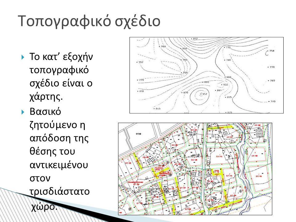  Το κατ' εξοχήν τοπογραφικό σχέδιο είναι ο χάρτης.