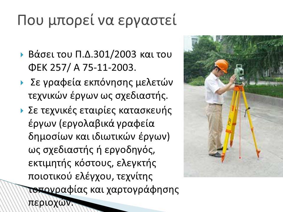  Βάσει του Π.Δ.301/2003 και του ΦΕΚ 257/ Α 75-11-2003.