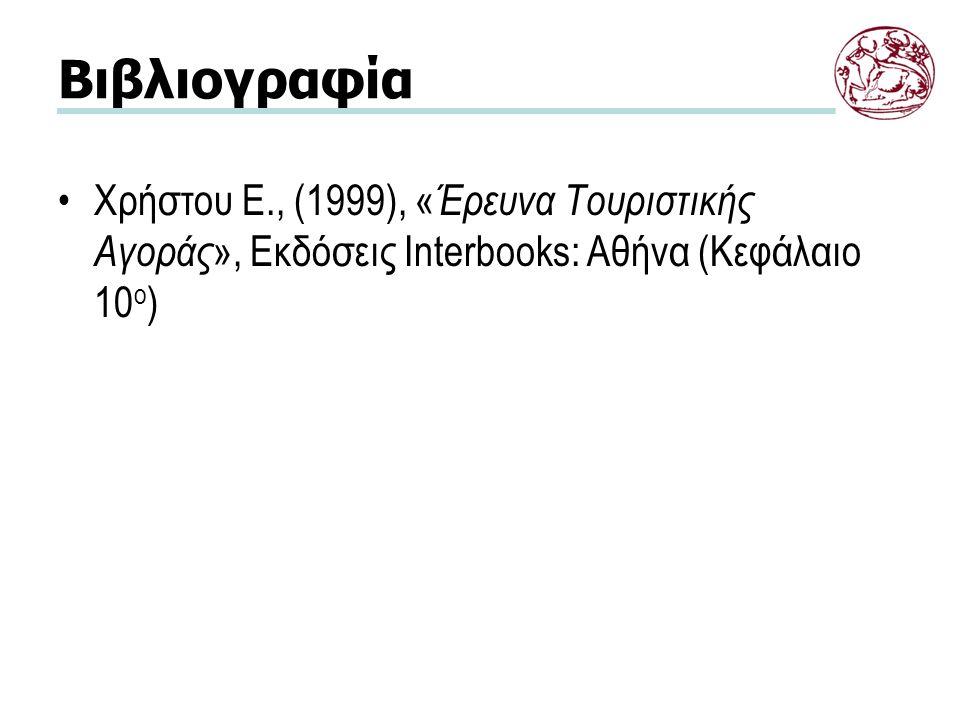 Βιβλιογραφία Χρήστου Ε., (1999), « Έρευνα Τουριστικής Αγοράς », Εκδόσεις Interbooks: Αθήνα (Κεφάλαιο 10 ο )