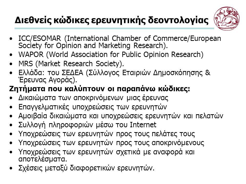 Διεθνής κώδικας δεοντολογίας του ICC/ESOMAR Επιλεγμένα αποσπάσματα του Κώδικα του ICC/ESOMAR Δικαιώματα των αποκρινόμενων Επαγγελματικές υποχρεώσεις των ερευνητών Αμοιβαία δικαιώματα και υποχρεώσεις ερευνητών και πελατών