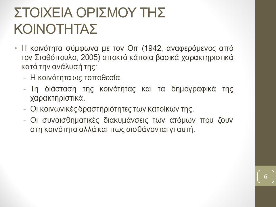 ΣΤΟΙΧΕΙΑ ΟΡΙΣΜΟΥ ΤΗΣ ΚΟΙΝΟΤΗΤΑΣ Η κοινότητα σύμφωνα με τον Orr (1942, αναφερόμενος από τον Σταθόπουλο, 2005) αποκτά κάποια βασικά χαρακτηριστικά κατά την ανάλυσή της: -Η κοινότητα ως τοποθεσία.