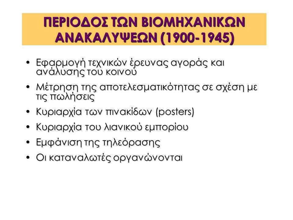 ΠΕΡΙΟΔΟΣ ΤΩΝ ΒΙΟΜΗΧΑΝΙΚΩΝ ΑΝΑΚΑΛΥΨΕΩΝ (1900-1945) Εφαρμογή τεχνικών έρευνας αγοράς και ανάλυσης του κοινούΕφαρμογή τεχνικών έρευνας αγοράς και ανάλυσης του κοινού Μέτρηση της αποτελεσματικότητας σε σχέση με τις πωλήσειςΜέτρηση της αποτελεσματικότητας σε σχέση με τις πωλήσεις Κυριαρχία των πινακίδων (posters)Κυριαρχία των πινακίδων (posters) Κυριαρχία του λιανικού εμπορίουΚυριαρχία του λιανικού εμπορίου Εμφάνιση της τηλεόρασηςΕμφάνιση της τηλεόρασης Οι καταναλωτές οργανώνονταιΟι καταναλωτές οργανώνονται