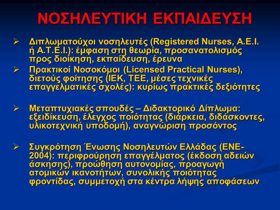 ΝΟΣΗΛΕΥΤΙΚΗ ΕΚΠΑΙΔΕΥΣΗ  Διπλωματούχοι νοσηλευτές (Registered Nurses, Α.Ε.Ι.