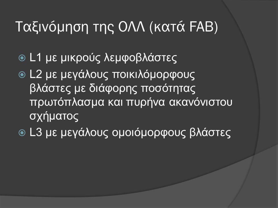 Ταξινόμηση της ΟΛΛ (κατά FAB)  L1 με μικρούς λεμφοβλάστες  L2 με μεγάλους ποικιλόμορφους βλάστες με διάφορης ποσότητας πρωτόπλασμα και πυρήνα ακανόνιστου σχήματος  L3 με μεγάλους ομοιόμορφους βλάστες