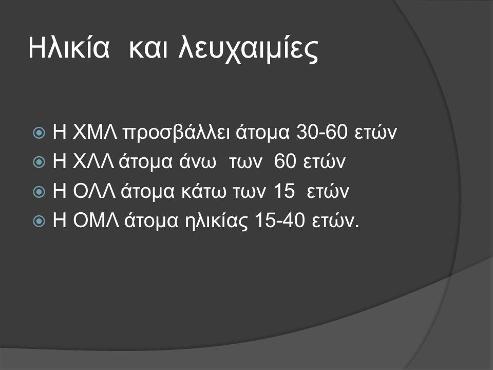 H λικία και λευχαιμίες  Η ΧΜΛ προσβάλλει άτομα 30-60 ετών  Η ΧΛΛ άτομα άνω των 60 ετών  Η ΟΛΛ άτομα κάτω των 15 ετών  Η ΟΜΛ άτομα ηλικίας 15-40 ετών.