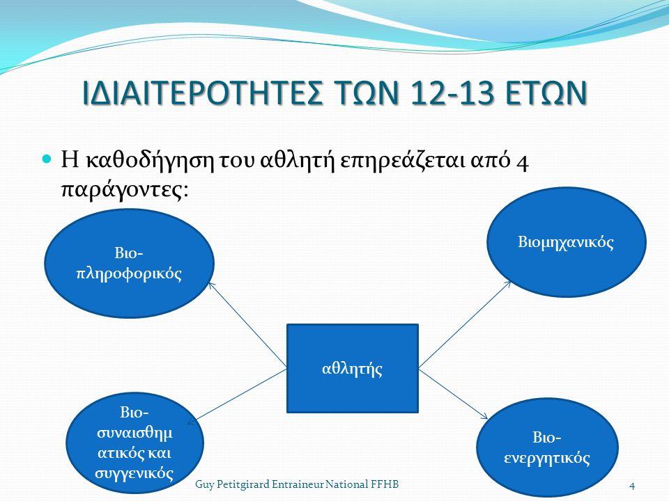 ΙΔΙΑΙΤΕΡΟΤΗΤΕΣ ΤΩΝ 12-13 ΕΤΩΝ Η καθοδήγηση του αθλητή επηρεάζεται από 4 παράγοντες: Guy Petitgirard Entraineur National FFHB4 Bιο- πληροφορικός αθλητή