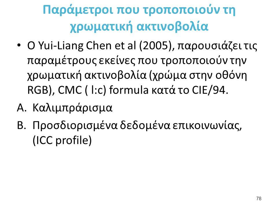Παράμετροι που τροποποιούν τη χρωματική ακτινοβολία Ο Yui-Liang Chen et al (2005), παρουσιάζει τις παραμέτρους εκείνες που τροποποιούν την χρωματική ακτινοβολία (χρώμα στην οθόνη RGB), CMC ( l:c) formula κατά το CIE/94.