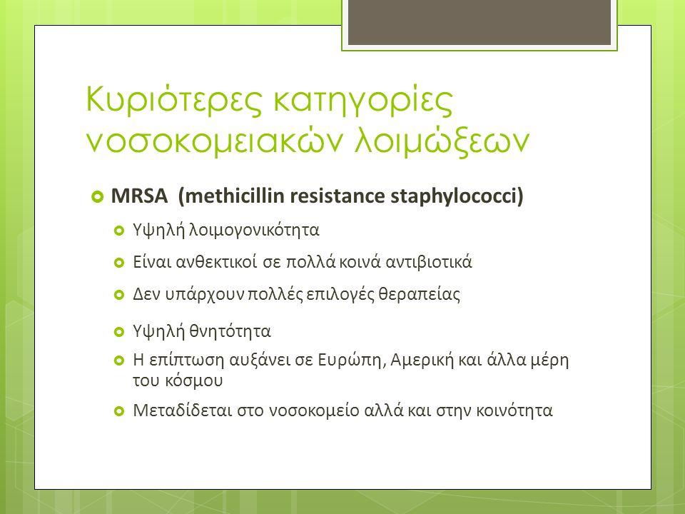 Κυριότερες κατηγορίες νοσοκομειακών λοιμώξεων  MRSA (methicillin resistance staphylococci)  Υψηλή λοιμογονικότητα  Είναι ανθεκτικοί σε πολλά κοινά αντιβιοτικά  Δεν υπάρχουν πολλές επιλογές θεραπείας  Υψηλή θνητότητα  Η επίπτωση αυξάνει σε Ευρώπη, Αμερική και άλλα μέρη του κόσμου  Μεταδίδεται στο νοσοκομείο αλλά και στην κοινότητα