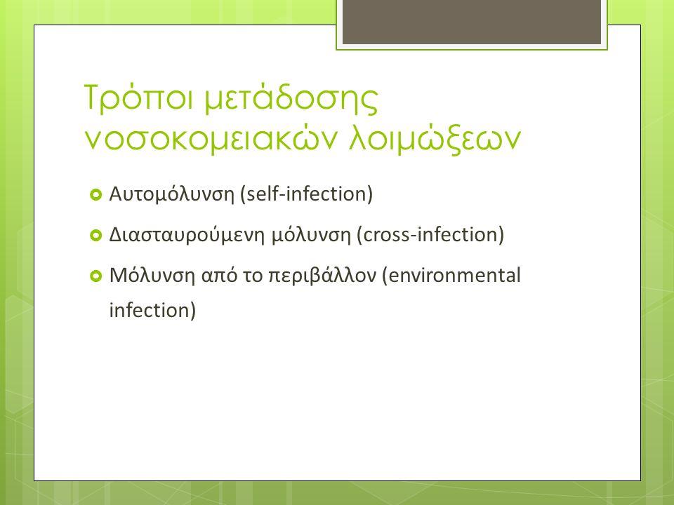 Τρόποι μετάδοσης νοσοκομειακών λοιμώξεων  Αυτομόλυνση (self-infection)  Διασταυρούμενη μόλυνση (cross-infection)  Μόλυνση από το περιβάλλον (environmental infection)