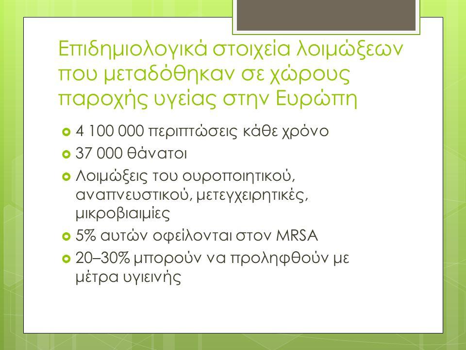 Επιδημιολογικά στοιχεία λοιμώξεων που μεταδόθηκαν σε χώρους παροχής υγείας στην Ευρώπη  4 100 000 περιπτώσεις κάθε χρόνο  37 000 θάνατοι  Λοιμώξεις του ουροποιητικού, αναπνευστικού, μετεγχειρητικές, μικροβιαιμίες  5% αυτών οφείλονται στον MRSA  20–30% μπορούν να προληφθούν με μέτρα υγιεινής
