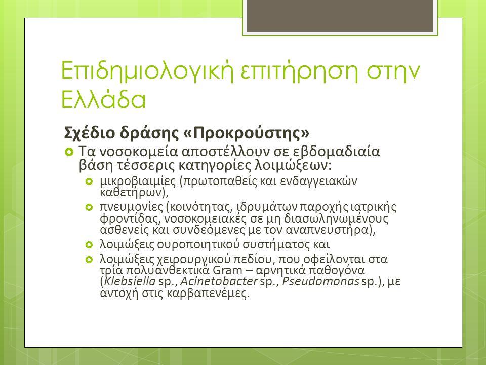 Επιδημιολογική επιτήρηση στην Ελλάδα Σχέδιο δράσης «Προκρούστης»  Τα νοσοκομεία αποστέλλουν σε εβδομαδιαία βάση τέσσερις κατηγορίες λοιμώξεων:  μικροβιαιμίες (πρωτοπαθείς και ενδαγγειακών καθετήρων),  πνευμονίες (κοινότητας, ιδρυμάτων παροχής ιατρικής φροντίδας, νοσοκομειακές σε μη διασωληνωμένους ασθενείς και συνδεόμενες με τον αναπνευστήρα),  λοιμώξεις ουροποιητικού συστήματος και  λοιμώξεις χειρουργικού πεδίου, που οφείλονται στα τρία πολυανθεκτικά Gram – αρνητικά παθογόνα (Klebsiella sp., Acinetobacter sp., Pseudomonas sp.), με αντοχή στις καρβαπενέμες.