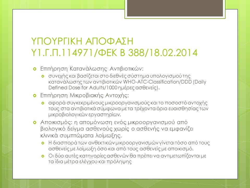 ΥΠΟΥΡΓΙΚΗ ΑΠΟΦΑΣΗ Υ1.Γ.Π.114971/ΦΕΚ Β 388/18.02.2014  Επιτήρηση Κατανάλωσης Αντιβιοτικών:  συνεχής και βασίζεται στο διεθνές σύστημα υπολογισμού της κατανάλωσης των αντιβιοτικών WHO-ATC-Classification/DDD (Daily Defined Dose for Adults/1000 ημέρες ασθενείς).