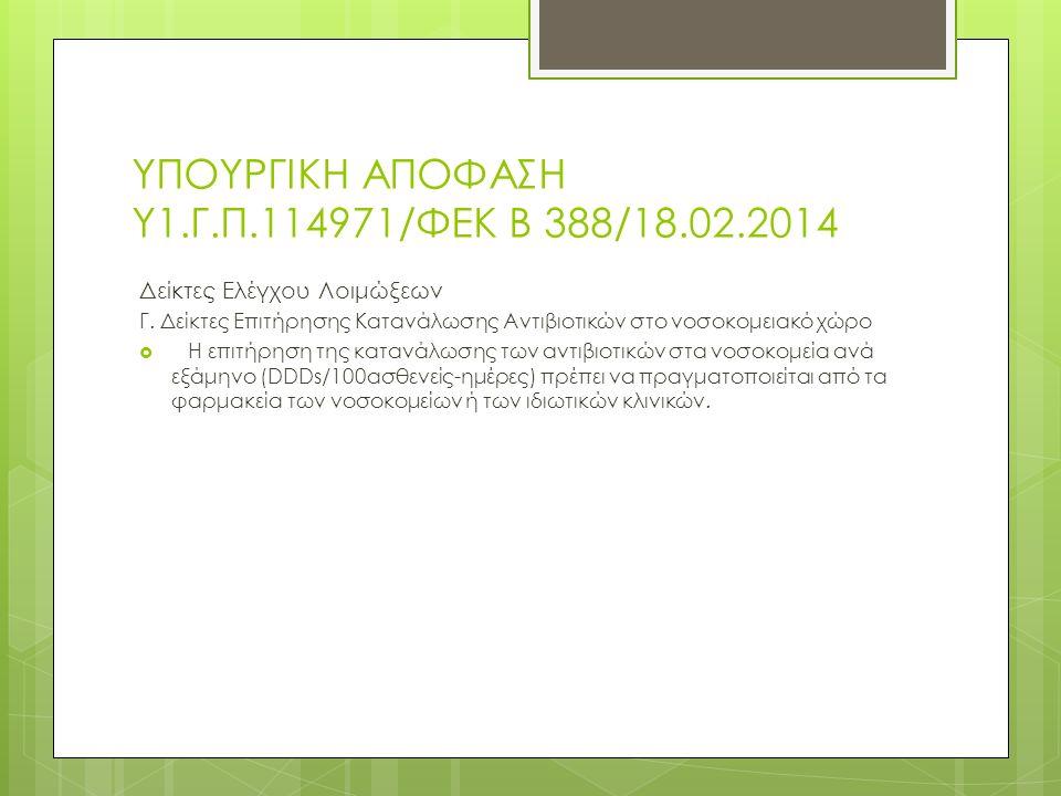 ΥΠΟΥΡΓΙΚΗ ΑΠΟΦΑΣΗ Υ1.Γ.Π.114971/ΦΕΚ Β 388/18.02.2014 Δείκτες Ελέγχου Λοιμώξεων Γ.