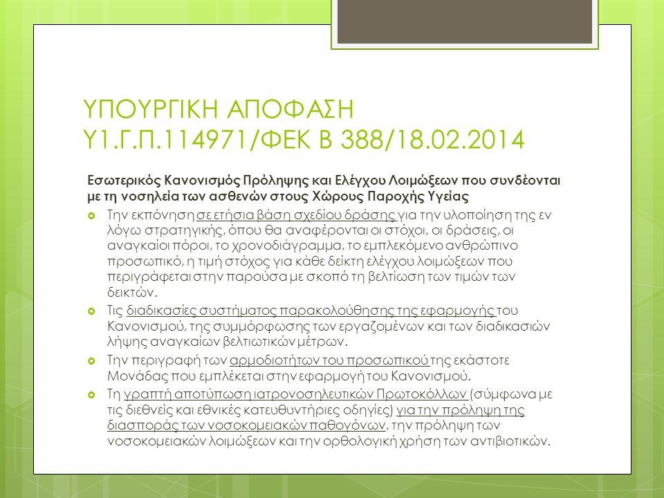 ΥΠΟΥΡΓΙΚΗ ΑΠΟΦΑΣΗ Υ1.Γ.Π.114971/ΦΕΚ Β 388/18.02.2014 Εσωτερικός Κανονισμός Πρόληψης και Ελέγχου Λοιμώξεων που συνδέονται με τη νοσηλεία των ασθενών στους Χώρους Παροχής Υγείας  Την εκπόνηση σε ετήσια βάση σχεδίου δράσης για την υλοποίηση της εν λόγω στρατηγικής, όπου θα αναφέρονται οι στόχοι, οι δράσεις, οι αναγκαίοι πόροι, το χρονοδιάγραμμα, το εμπλεκόμενο ανθρώπινο προσωπικό, η τιμή στόχος για κάθε δείκτη ελέγχου λοιμώξεων που περιγράφεται στην παρούσα με σκοπό τη βελτίωση των τιμών των δεικτών.